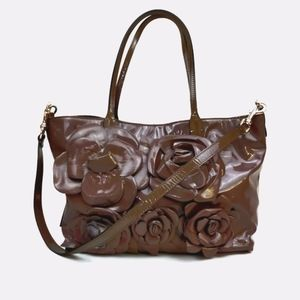 VALENTINO Patent Leather Flower Tote Bag
